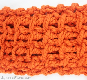 Squirrel Picnic Knit Scarf Stitch Pattern Swatch