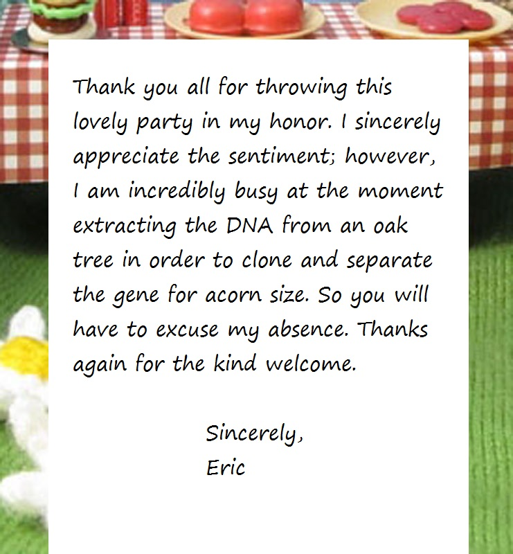 A message from Eric