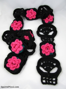 Squirrel Picnic Black Skull Scarf with Pink Rose_Logo