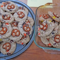 Reeses Pieces Chocochunk Pretzel Cookies