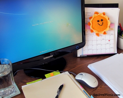 A crochet sun will brighten up your workspace