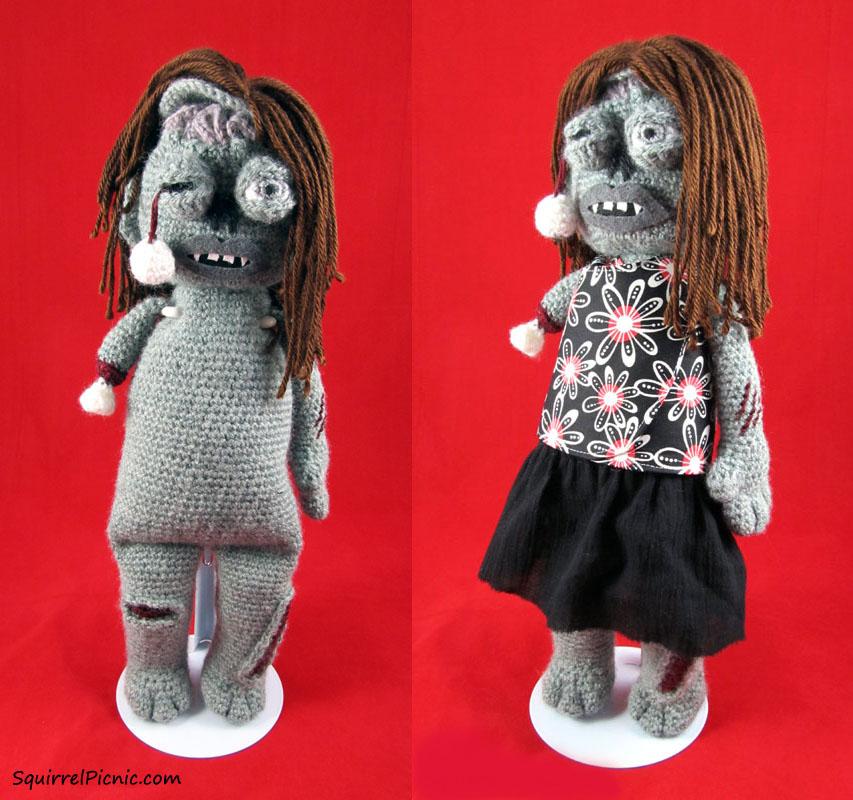zombie crochet pattern - Halloween amigurumi zombie doll pattern | 800x853