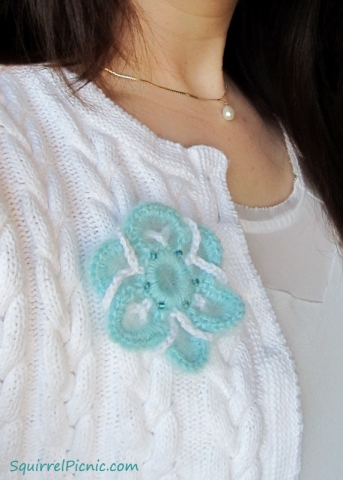Crochet Mohair Mother's Day Brooch by Squirrel Picnic