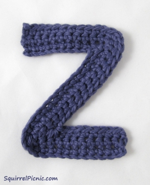 Crochet Z Applique Pattern by Squirrel Picnic