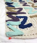 1) Pin your strip of Zs to the blanket with RS together.
