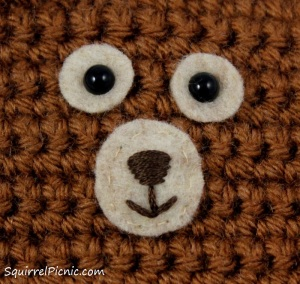 How to embroider a face for squirrel amigurumi tutorial by Squirrel Picnic.