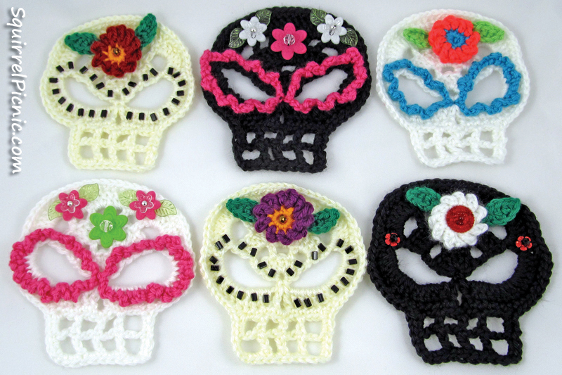Sugar Candy Skull Crochet Pattern | Squirrel Picnic Zombie Head Stencil