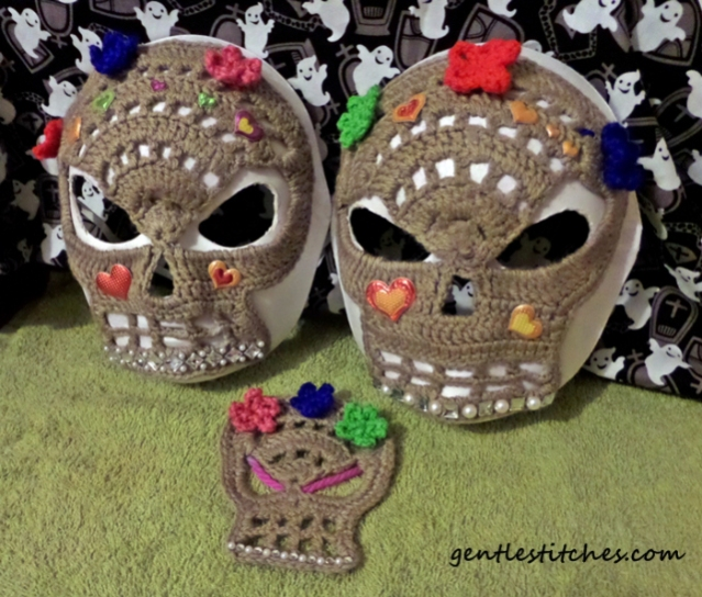 crochet large and small sugar skull masks