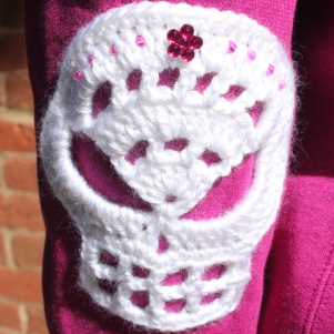 Close up of a skull elbow patch.