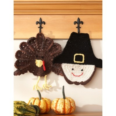 Pilgrim and Turkey Dishcloths by Yarnspirations