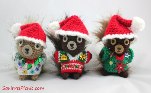 Santa Hats and Ugly Christmas Sweaters for Your Squirrel Friends by Squirrel Picnic