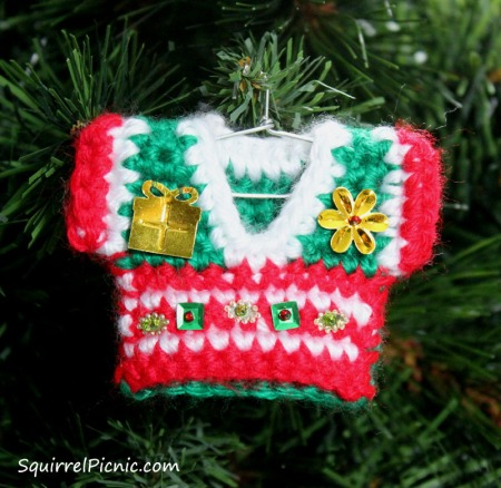 Ugly Christmas Sweater Ornament by Squirrel Picnic