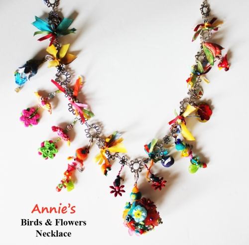 Annie's Birds and Flowers Necklace Completed