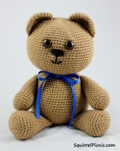 I made Buster Bear for my friend while he was in the hospital. I made this bear with a very large head! It would become much smaller in future versions, especially once I started crocheting the head and body together.