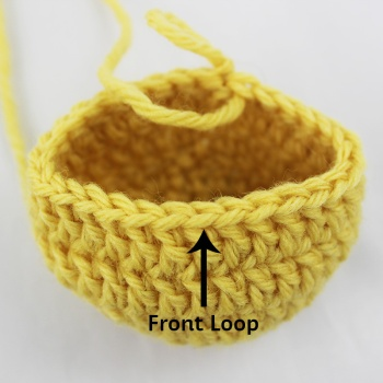 Crochet in the front loop only to create the bear's neck.