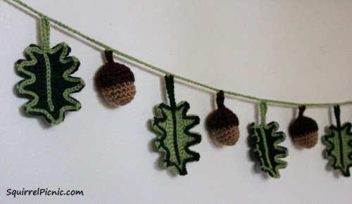 Oak Leaf and Acorn Garland by Squirrel Picnic with Logo
