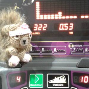 "Day 4 ★ Podge and I are sweating on the arc trainer at the gym. ""Just 50 more seconds. You can do it!"" she says. She's a great cheerleader."