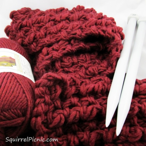 Super Comfy, Super Quick Scarf free knit pattern by Squirrel Picnic