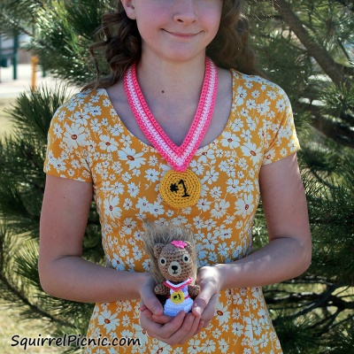 #1 Award Medal for You and Your Squirrel Friend crochet pattern from The Big Acorn Race by Jennifer Olivarez