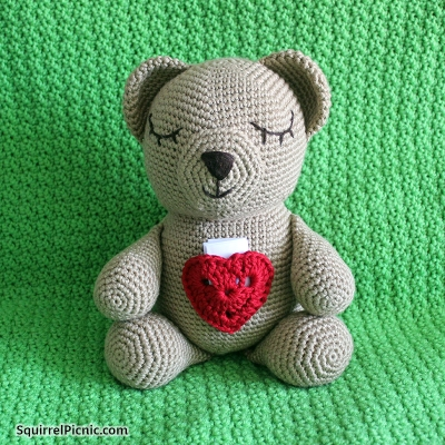 Sleepy Bear with Heart Pocket to Hold His Story